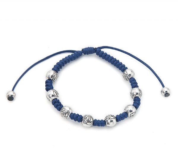 Classic everyday Blue cord and silver Beaded bracelet